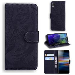 Intricate Embossing Tiger Face Leather Wallet Case for Sony Xperia L3 - Black