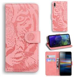 Intricate Embossing Tiger Face Leather Wallet Case for Sony Xperia L3 - Pink