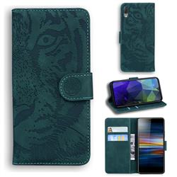 Intricate Embossing Tiger Face Leather Wallet Case for Sony Xperia L3 - Green