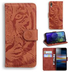 Intricate Embossing Tiger Face Leather Wallet Case for Sony Xperia L3 - Brown