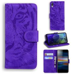 Intricate Embossing Tiger Face Leather Wallet Case for Sony Xperia L3 - Purple