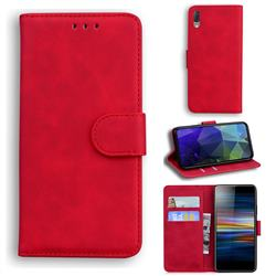 Retro Classic Skin Feel Leather Wallet Phone Case for Sony Xperia L3 - Red