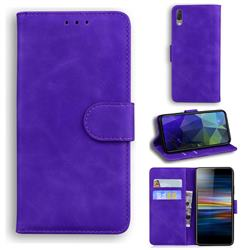Retro Classic Skin Feel Leather Wallet Phone Case for Sony Xperia L3 - Purple