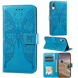 Intricate Embossing Rose Flower Butterfly Leather Wallet Case for Sony Xperia L3 - Blue
