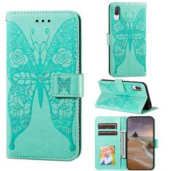 Intricate Embossing Rose Flower Butterfly Leather Wallet Case for Sony Xperia L3 - Green