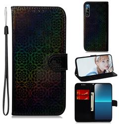 Laser Circle Shining Leather Wallet Phone Case for Sony Xperia L4 - Black
