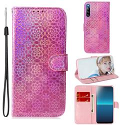 Laser Circle Shining Leather Wallet Phone Case for Sony Xperia L4 - Pink