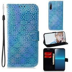Laser Circle Shining Leather Wallet Phone Case for Sony Xperia L4 - Blue