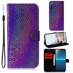 Laser Circle Shining Leather Wallet Phone Case for Sony Xperia L4 - Purple