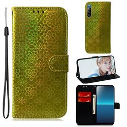Laser Circle Shining Leather Wallet Phone Case for Sony Xperia L4 - Golden
