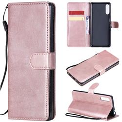 Retro Greek Classic Smooth PU Leather Wallet Phone Case for Sony Xperia L4 - Rose Gold