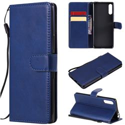 Retro Greek Classic Smooth PU Leather Wallet Phone Case for Sony Xperia L4 - Blue