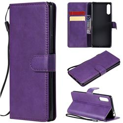 Retro Greek Classic Smooth PU Leather Wallet Phone Case for Sony Xperia L4 - Purple