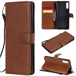 Retro Greek Classic Smooth PU Leather Wallet Phone Case for Sony Xperia L4 - Brown