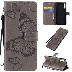Embossing 3D Butterfly Leather Wallet Case for Sony Xperia L4 - Gray