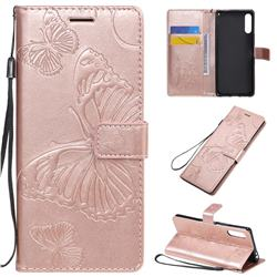 Embossing 3D Butterfly Leather Wallet Case for Sony Xperia L4 - Rose Gold