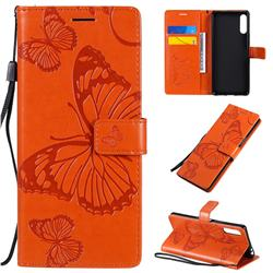 Embossing 3D Butterfly Leather Wallet Case for Sony Xperia L4 - Orange