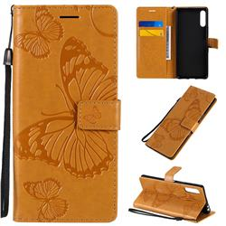 Embossing 3D Butterfly Leather Wallet Case for Sony Xperia L4 - Yellow