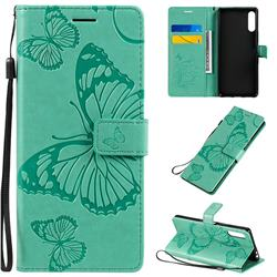 Embossing 3D Butterfly Leather Wallet Case for Sony Xperia L4 - Green