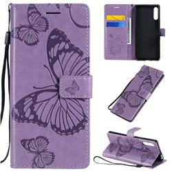 Embossing 3D Butterfly Leather Wallet Case for Sony Xperia L4 - Purple
