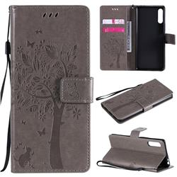 Embossing Butterfly Tree Leather Wallet Case for Sony Xperia L4 - Grey