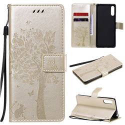 Embossing Butterfly Tree Leather Wallet Case for Sony Xperia L4 - Champagne