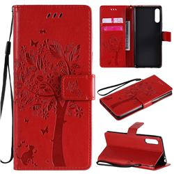 Embossing Butterfly Tree Leather Wallet Case for Sony Xperia L4 - Red