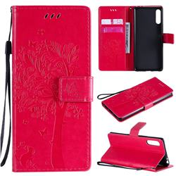 Embossing Butterfly Tree Leather Wallet Case for Sony Xperia L4 - Rose
