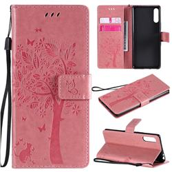 Embossing Butterfly Tree Leather Wallet Case for Sony Xperia L4 - Pink