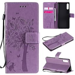 Embossing Butterfly Tree Leather Wallet Case for Sony Xperia L4 - Violet