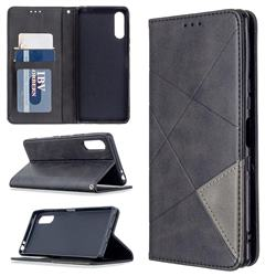 Prismatic Slim Magnetic Sucking Stitching Wallet Flip Cover for Sony Xperia L4 - Black