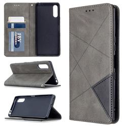 Prismatic Slim Magnetic Sucking Stitching Wallet Flip Cover for Sony Xperia L4 - Gray