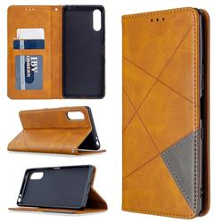 Prismatic Slim Magnetic Sucking Stitching Wallet Flip Cover for Sony Xperia L4 - Yellow