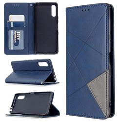 Prismatic Slim Magnetic Sucking Stitching Wallet Flip Cover for Sony Xperia L4 - Blue