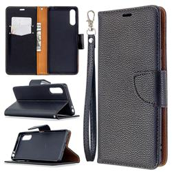 Classic Luxury Litchi Leather Phone Wallet Case for Sony Xperia L4 - Black