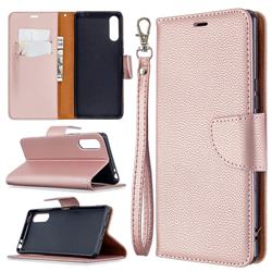 Classic Luxury Litchi Leather Phone Wallet Case for Sony Xperia L4 - Golden