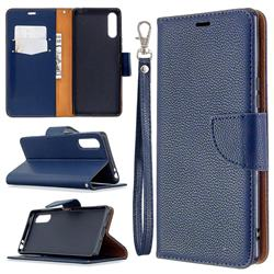 Classic Luxury Litchi Leather Phone Wallet Case for Sony Xperia L4 - Blue