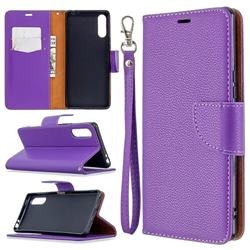 Classic Luxury Litchi Leather Phone Wallet Case for Sony Xperia L4 - Purple