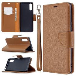 Classic Luxury Litchi Leather Phone Wallet Case for Sony Xperia L4 - Brown