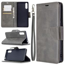 Classic Sheepskin PU Leather Phone Wallet Case for Sony Xperia L4 - Gray