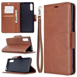 Classic Sheepskin PU Leather Phone Wallet Case for Sony Xperia L4 - Brown