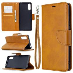 Classic Sheepskin PU Leather Phone Wallet Case for Sony Xperia L4 - Yellow