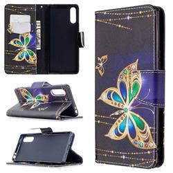 Golden Shining Butterfly Leather Wallet Case for Sony Xperia L4