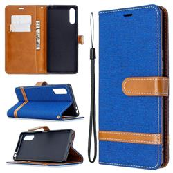 Jeans Cowboy Denim Leather Wallet Case for Sony Xperia L4 - Sapphire