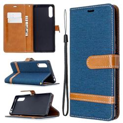 Jeans Cowboy Denim Leather Wallet Case for Sony Xperia L4 - Dark Blue