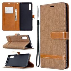 Jeans Cowboy Denim Leather Wallet Case for Sony Xperia L4 - Brown