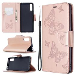 Embossing Double Butterfly Leather Wallet Case for Sony Xperia L4 - Rose Gold
