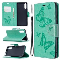 Embossing Double Butterfly Leather Wallet Case for Sony Xperia L4 - Green