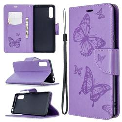 Embossing Double Butterfly Leather Wallet Case for Sony Xperia L4 - Purple