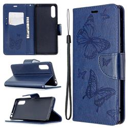 Embossing Double Butterfly Leather Wallet Case for Sony Xperia L4 - Dark Blue